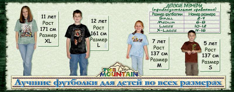 Таблица размеров детских футболок The Mountain