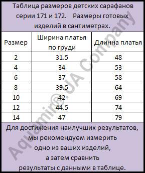 Таблица размеров гавайских детских сарафанов 171 и 172 серии