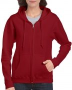 Gildan Women's Heavy Blend Full-Zip Hooded Sweatshirt Cardinal Red