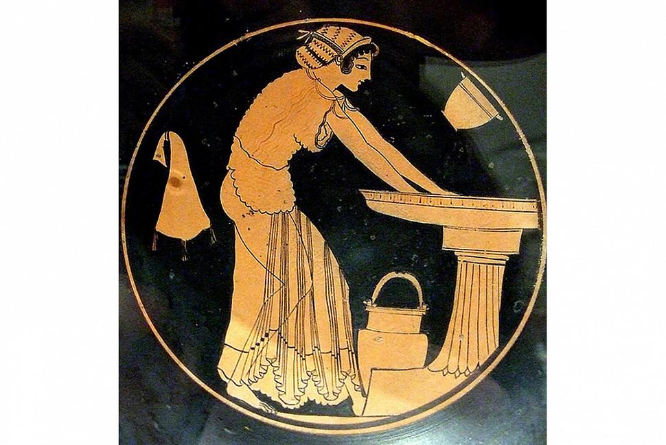 Изображение кембричного платка в древнегреческой керамике, ок. 500 B.C.E. Изображение c Flickr.