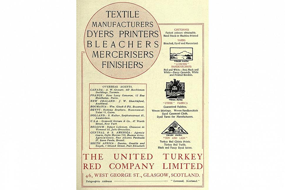 Реклама для компании United Turkey Red в 1920 году. Изображение с Grace's Guide.