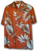 Paradise Motion Men's Rayon Hawaiian Shirts 470-105 Rust