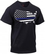 Rothco Thin Blue Line America Map T-Shirt 1851
