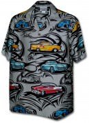 Pacific Legend Matched Front Men's Hawaiian Shirts - 442-3808 Grey