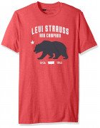 Levis Mens Wehlen T-Shirt with California Bear Graphic Red Heather