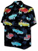 Pacific Legend Matched Front Men's Hawaiian Shirts - 442-3771 Black