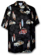 Pacific Legend Matched Front Men's Hawaiian Shirts - 442-3658 Black