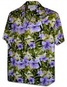 Men's Hibiscus Garden Hawaiian Shirt 410-3956 Purple