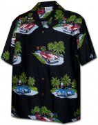 Pacific Legend Matched Front Men's Hawaiian Shirts - 442-3656 Black