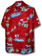 Pacific Legend Matched Front Men's Hawaiian Shirts 442-3650 Red