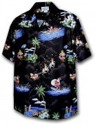 Pacific Legend Matched Front Men's Hawaiian Shirts - 442-3650 Black