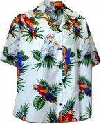 Pacific Legend Jungle Parrot Hawaiian Shirts - 346-3531 White