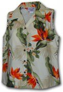 Pacific Legend Bird of Paradise Ladies Sleevless Hawaiian Shirts - 342-3470 Cream