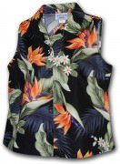 Pacific Legend Bird of Paradise Ladies Sleevless Hawaiian Shirts - 342-3470 Black