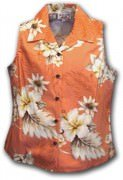 Pacific Legend Luau Ladies Sleevless Hawaiian Shirts - 342-3162 Peach