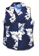 Pacific Legend Luau Ladies Sleevless Hawaiian Shirts - 342-3162 Navy