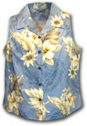 Pacific Legend Luau Ladies Sleevless Hawaiian Shirts - 342-3162 Blue