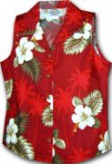 Pacific Legend Hibiscus Island Ladies Sleevless Hawaiian Shirts - 342-2798 Red