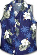 Pacific Legend Hibiscus Island Ladies Sleevless Hawaiian Shirts - 342-2798 Navy