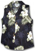 Pacific Legend Hibiscus Island Ladies Sleevless Hawaiian Shirts - 342-2798 Black