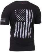 Rothco Distressed US Flag Athletic Fit T-Shirt Black 2901