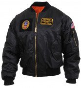 Rothco MA-1 Flight Jacket with Patches Black